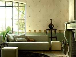 Den delte vegger er fortsatt en god løsning - med mønstertapet øverst, en bord og ensfarget nederst.