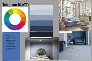 Moodboard som viser prinsippet med ton-i-ton fargesetting, illustrert med blått i mange nyanser.