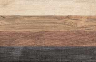 Serien Chalet inneholder trefliser i fire farger: sort, hvitt og to brune.