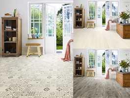 Vi er blitt mer trygge på å bruke farger og mønstre – også på gulvet. Fargene forvandler den store, bortglemte flaten til et sterkt interiørelement. Ett og samme rom endres totalt med ulike materialer på gulvet.