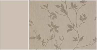 <b>ROLIG:</b> Tapetet Aristo er rolig selv om det er mønstret, og passer fint til alle fire veggene i rommet. Tapet fra Storeys.