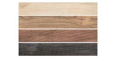Flisene ligner på tre, men er laget av keramisk materiale. Chalet finnes i tre farger.