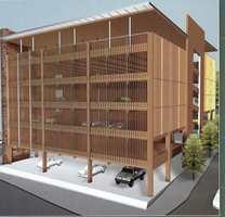 Parkeringshus i tre er fremtid, oppført i moduler som om ønskelig lett kan demonteres. (Fra Treteknisk Informasjon)