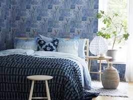 Blått er en veldig fin farge på soverommet. Tapet fra kolleksjonen Everyday Life, Borge.