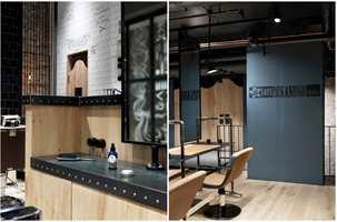 <b>FRISØR:</b> Spennende kontraster i materialbruk i salongen Billy's Bumble and Bumble på Aker Brygge i Oslo, tegnet av interiørarkitektfirma Inne Design AS.