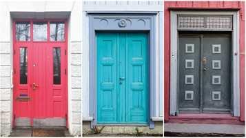 <b>KRUMSPRING:</b> Å bryte regelen er også lov. Disse friske dørfargene på Bakklandet bringer inn «det lille ekstra» i bybildet.