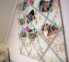 En porøs plate, tekstil, fløyelsbånd og øyekroker til oppheng er det som skal til før man har en stilig oppslagstavle.