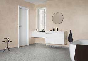 Aquarelle Rustic Velvet minner om en kalket vegg og sammen med iQ Surface på gulvet