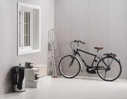 Plater som anbefales til tekniske rom og vaskerom kan også brukes på gangen. Foto: Byggma