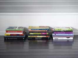 Bra plassutnyttelse – bøker i pene stabler inntil den svært lave kneveggen, på lekkert, blankmalt gulv.