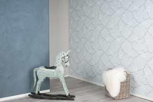 <b>KOMBI:</b> Her er veggplatene Walls2Paint fiffet opp med maling og tapet. Det turkise tapetet er fra Borge. (Foto: Forestia)